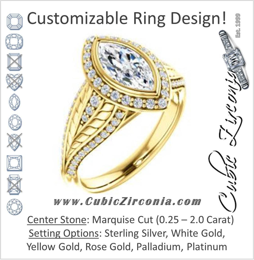 Cubic Zirconia Engagement Ring- The Mary Jane (Customizable Bezel-Halo Marquise Cut Design with Wide Filigree & Accent Band)