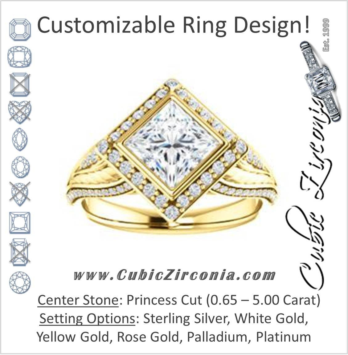 1040f14de Bezel-Halo Princess Cut CZ Ring with Wide Filigree   Accented Band ...