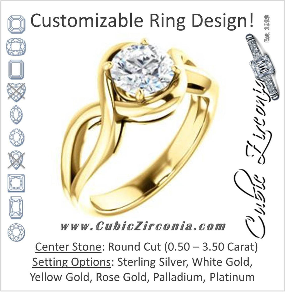 Cubic Zirconia Engagement Ring- The Maude (Customizable Cathedral-raised Round Cut Solitaire with Ribboned Split Band)