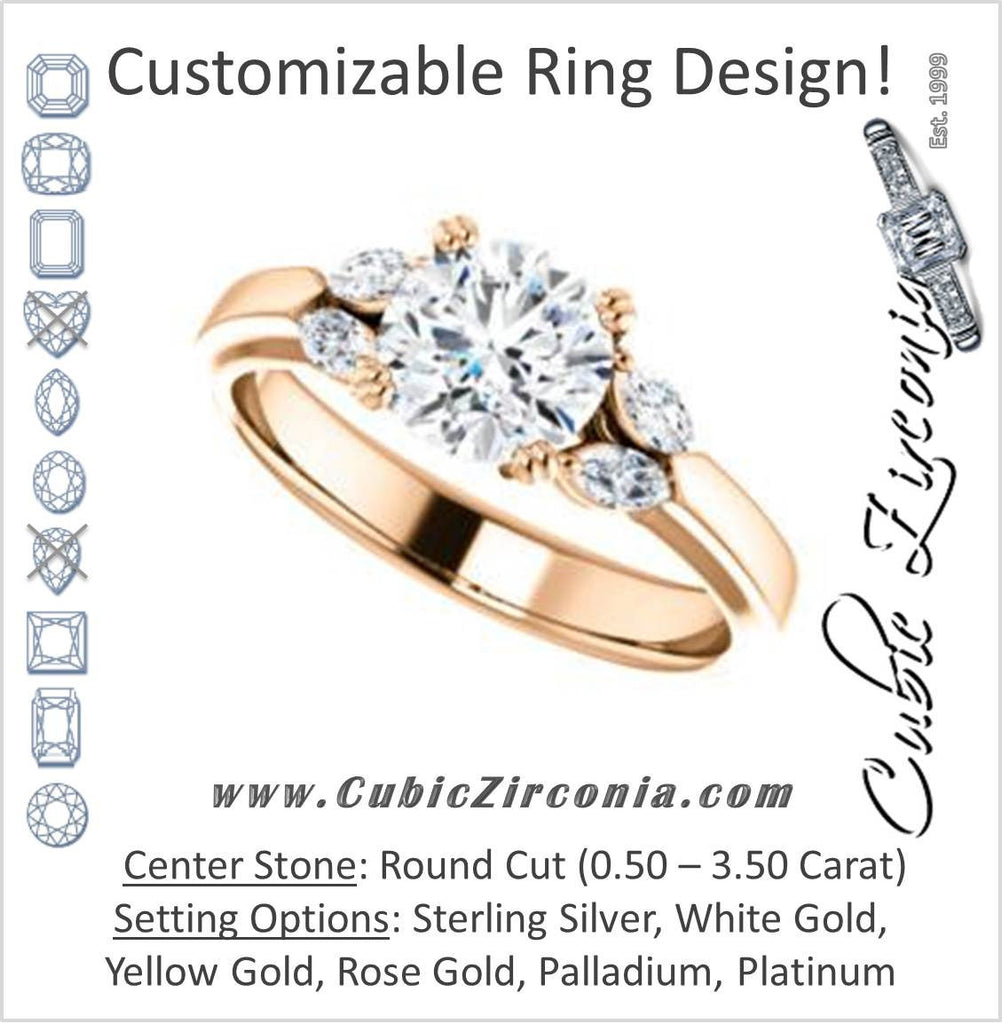Cubic Zirconia Engagement Ring- The Melitza (Customizable Round Cut 5-stone with Marquise Accents)