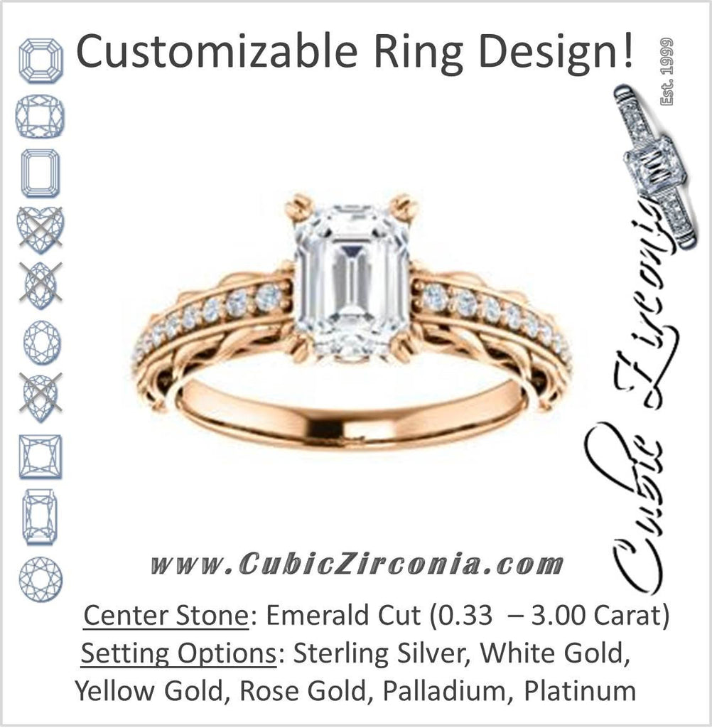 Cubic Zirconia Engagement Ring- The Melody (Customizable Emerald Cut Style with Lacy Filigree Metal Band Plus Pavé and Peekaboo Accents)