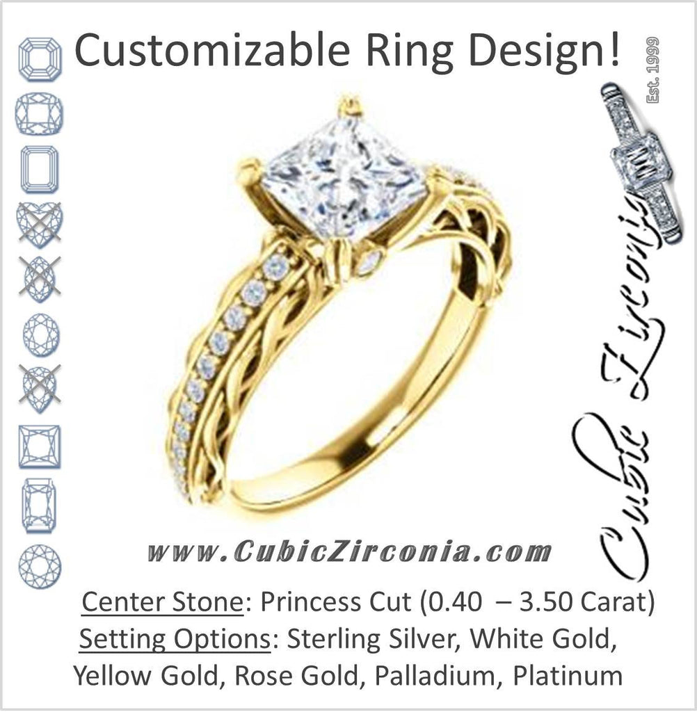 Cubic Zirconia Engagement Ring- The Melody (Customizable Princess Cut Style with Lacy Filigree Metal Band Plus Pavé and Peekaboo Accents)
