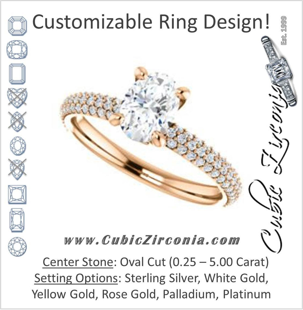 Cubic Zirconia Engagement Ring- The Merari (Customizable Oval Cut with Three-sided Triple Pavé Band & Twin Bezel Peekaboo Accents)