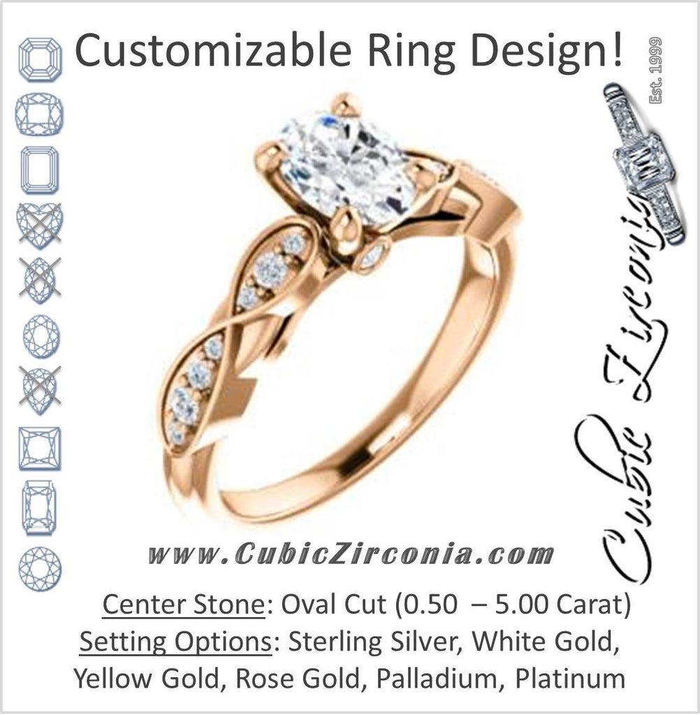 Cubic Zirconia Engagement Ring- The Meryl (Customizable Oval Cut Design featuring Pavé-Infinity Band and Peekaboo Accents)