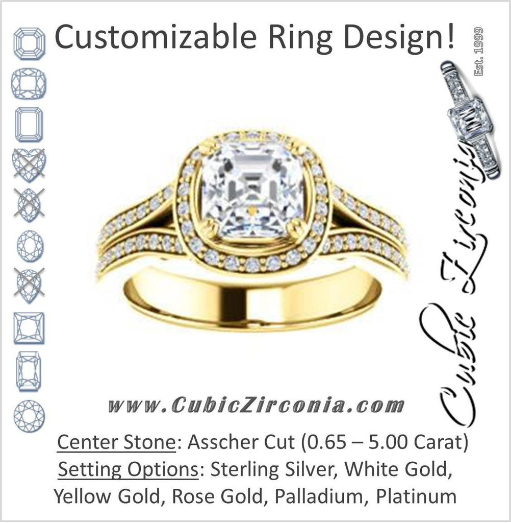 Cubic Zirconia Engagement Ring- The Mia Sofía (Customizable Cathedral-Halo Asscher Cut Style with Wide Split-Pavé Band)