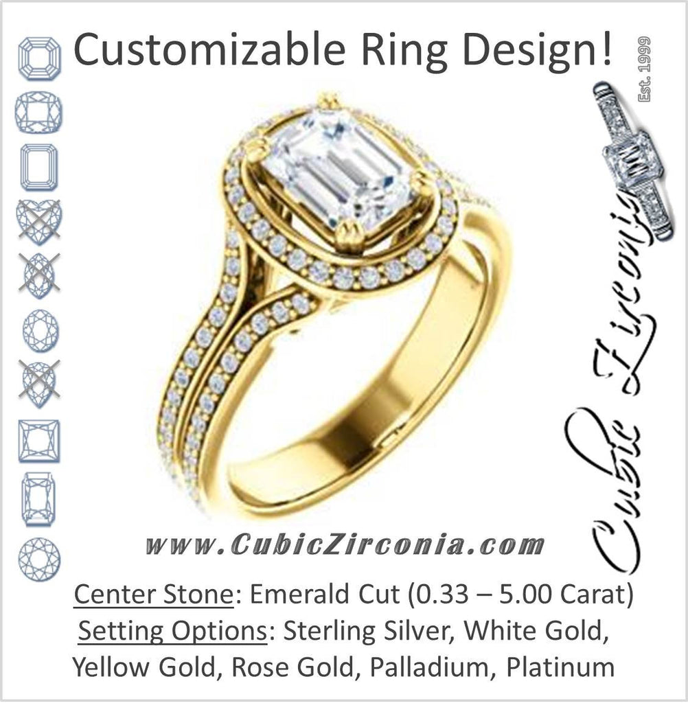 Cubic Zirconia Engagement Ring- The Mia Sofía (Customizable Cathedral-Halo Emerald Cut Style with Wide Split-Pavé Band)