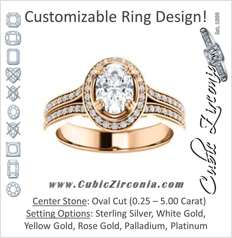 Cubic Zirconia Engagement Ring- The Mia Sofía (Customizable Cathedral-Halo Oval Cut Style with Wide Split-Pavé Band)