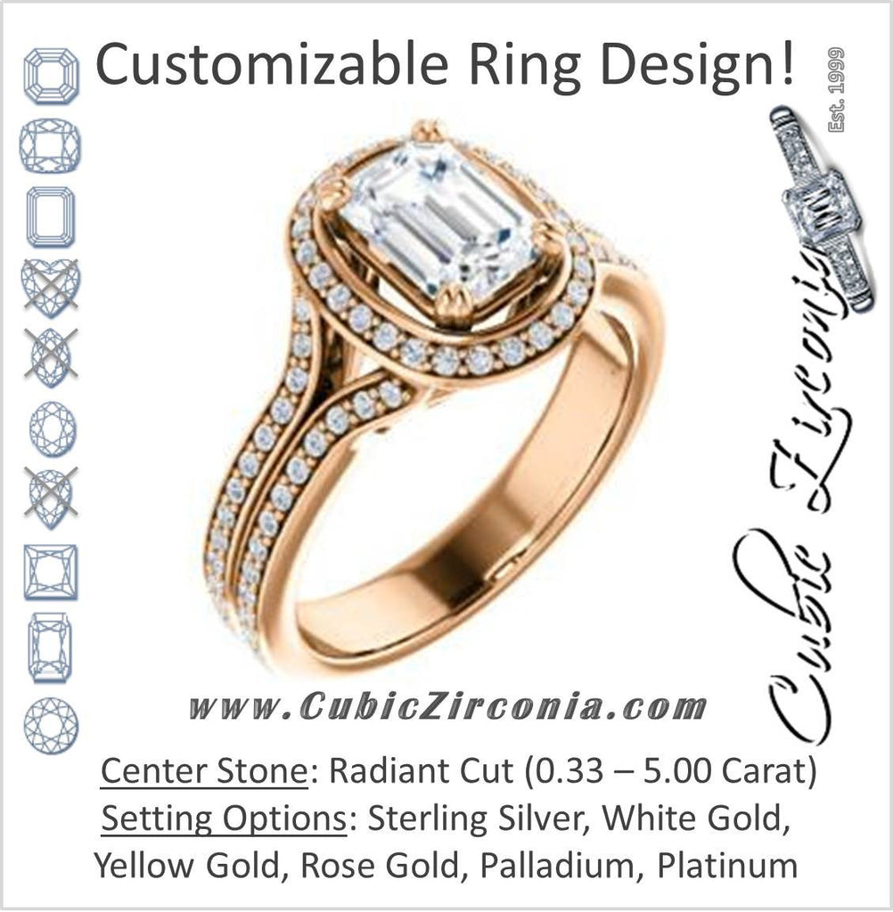 Cubic Zirconia Engagement Ring- The Mia Sofía (Customizable Cathedral-Halo Radiant Cut Style with Wide Split-Pavé Band)