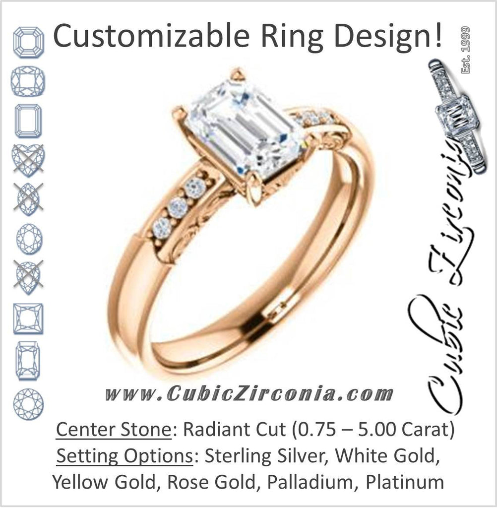 Cubic Zirconia Engagement Ring- The Migdala (Customizable 7-stone Radiant Cut Design with Round Channel Accents & Decorative Filigree)