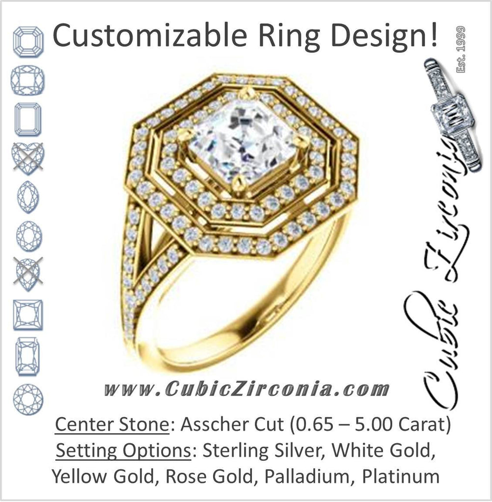 Cubic Zirconia Engagement Ring- The Miriam (Double Halo Ultra-Wide Split Pavé Band with Customizable Asscher Cut Center)