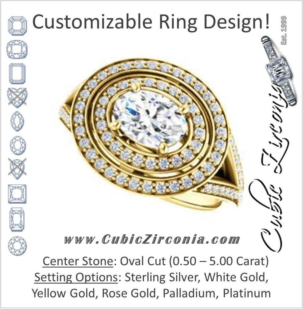 Cubic Zirconia Engagement Ring- The Miriam (Double Halo Ultra-Wide Split Pavé Band with Customizable Oval Cut Center)