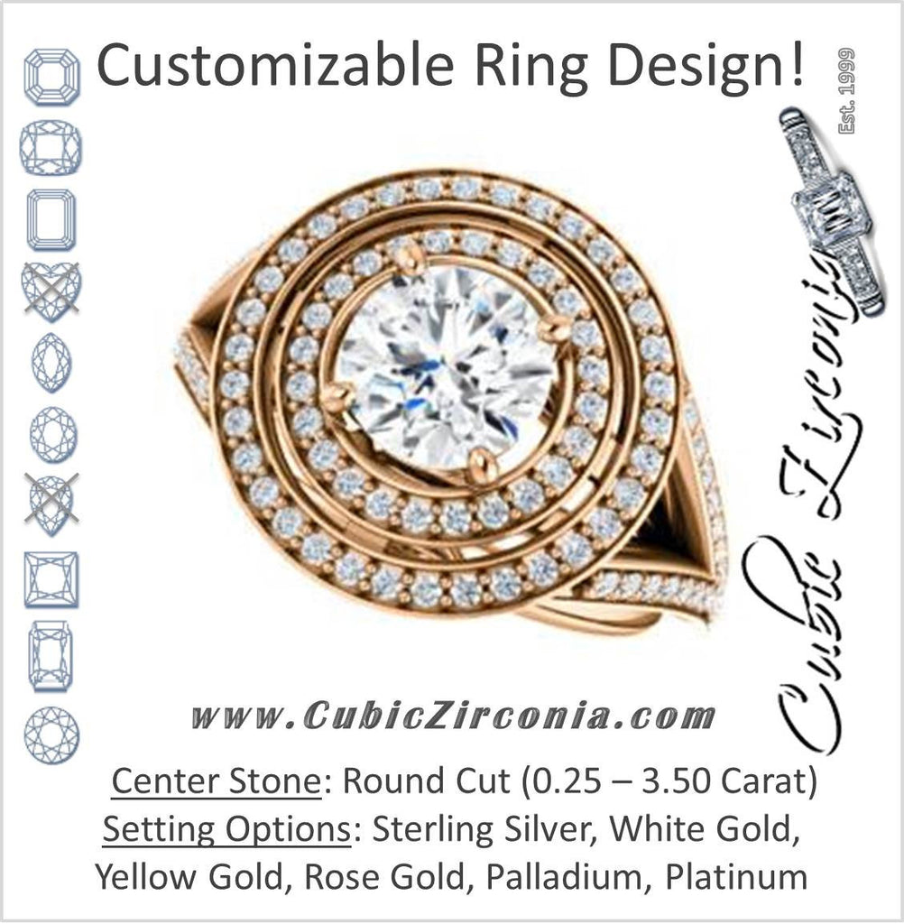 Cubic Zirconia Engagement Ring- The Miriam (Double Halo Ultra-Wide Split Pavé Band with Customizable Round Cut Center)
