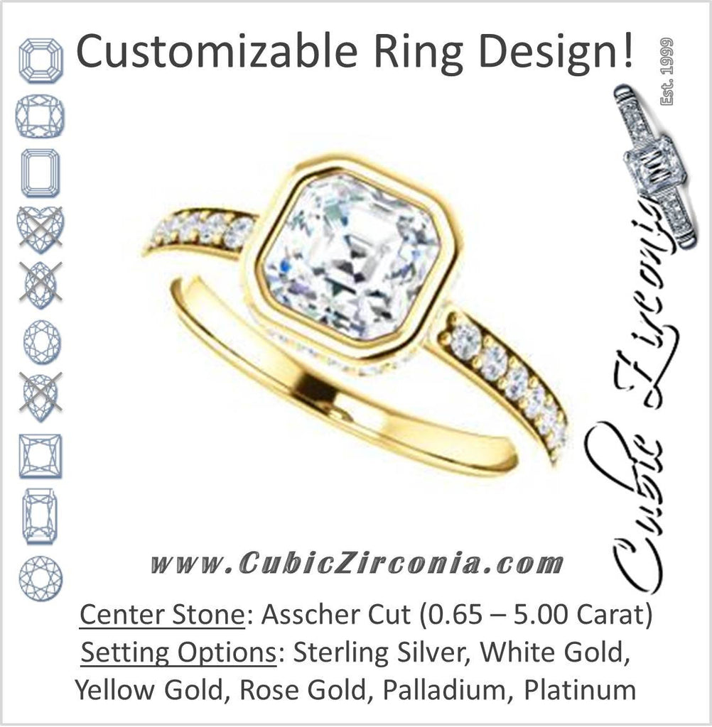 Cubic Zirconia Engagement Ring- The Monaco (Customizable Vintage Asscher Cut Design with Crown-inspired Under-halo Trellis and Pavé Band)