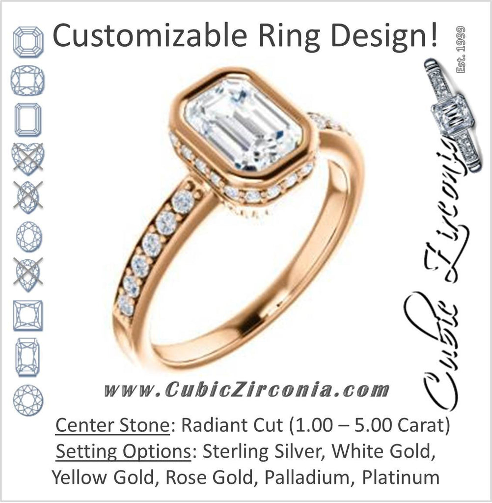 Cubic Zirconia Engagement Ring- The Monaco (Customizable Vintage Radiant Cut Design with Crown-inspired Under-halo Trellis and Pavé Band)