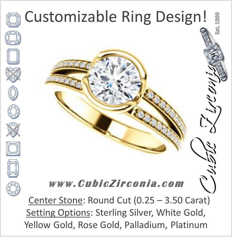 Cubic Zirconia Engagement Ring- The Monami (Customizable Bezel Round Cut with Split-pavé Band Accents & Euro Shank)