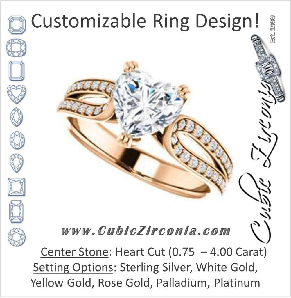 Cubic Zirconia Engagement Ring- The Monet (Customizable Heart Cut Design with Wide Split-Pavé Band)
