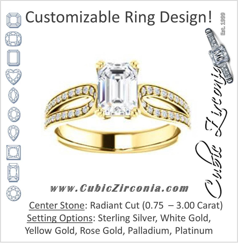 Cubic Zirconia Engagement Ring- The Monet (Customizable Radiant Cut Design with Wide Split-Pavé Band)