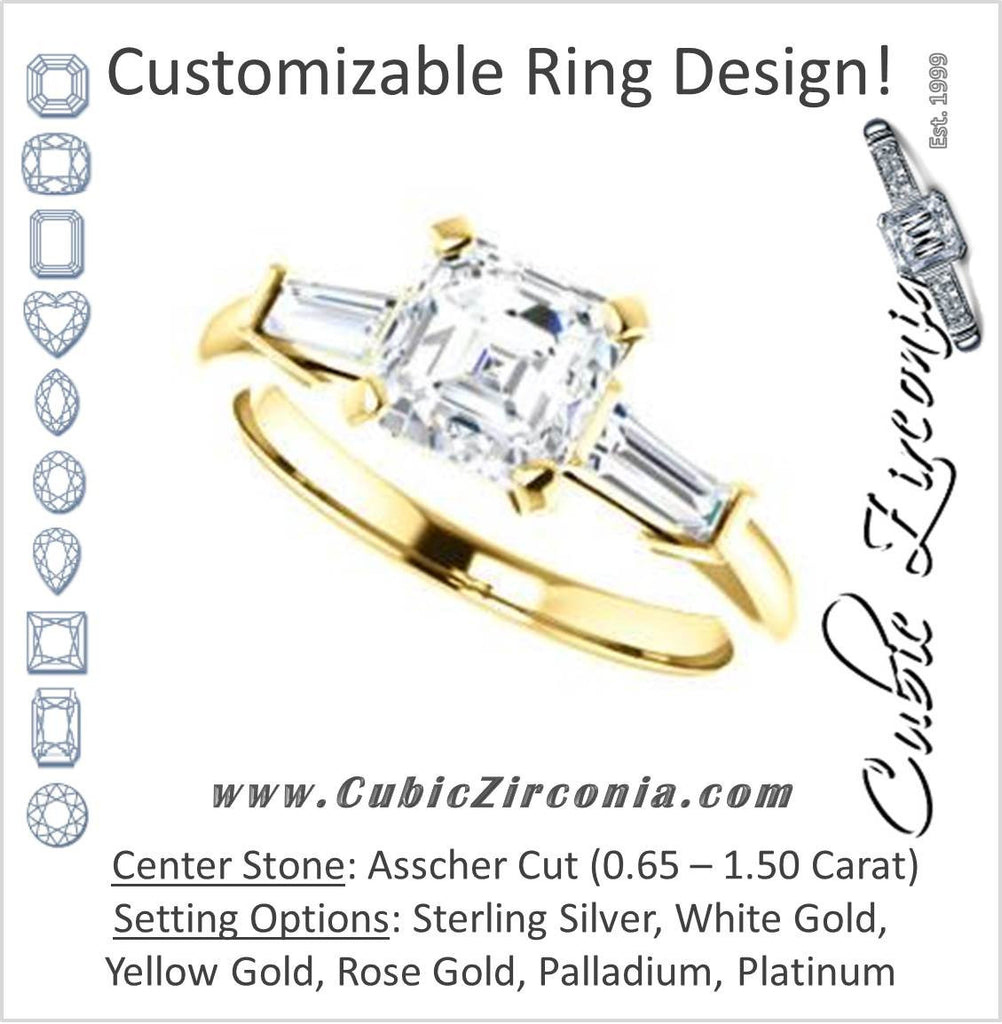 Cubic Zirconia Engagement Ring- The Monica (Customizable Asscher Cut Center with Dual Tapered Baguettes)