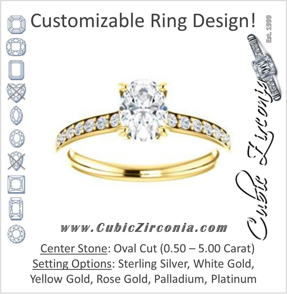 Cubic Zirconia Engagement Ring- The Monikama (Customizable Oval Cut Thin Band Design with Round Accents)