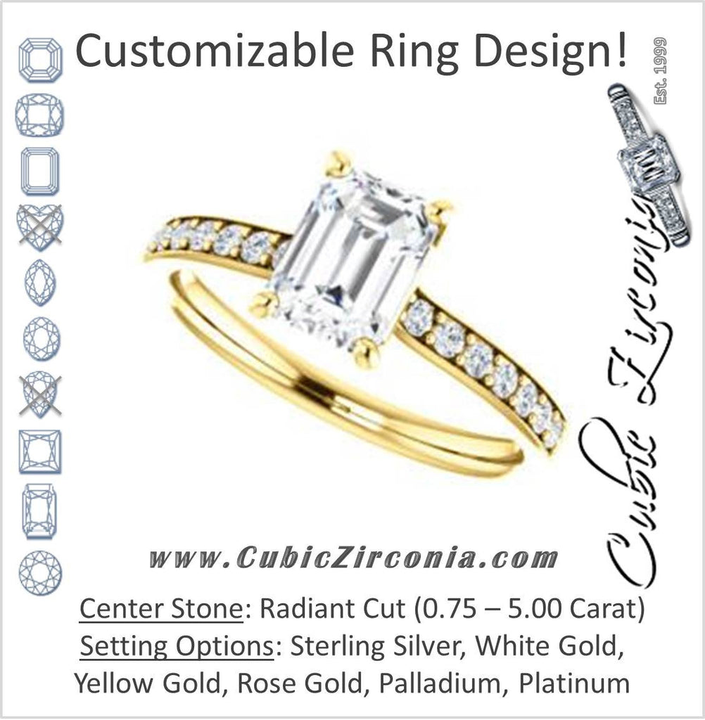 Cubic Zirconia Engagement Ring- The Monikama (Customizable Radiant Cut Thin Band Design with Round Accents)