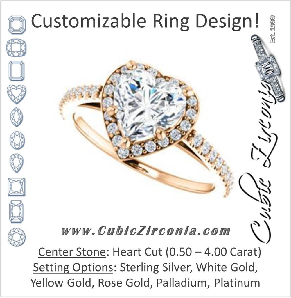 Cubic Zirconia Engagement Ring- The Monique (Customizable Heart Cut Cathedral-Halo with Thin Pave-Band)