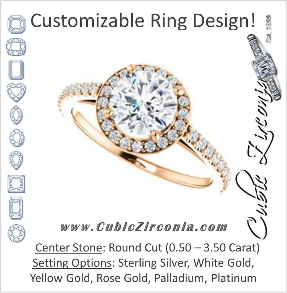 Cubic Zirconia Engagement Ring- The Monique (Customizable Round Cut Cathedral-Halo with Thin Pave-Band)
