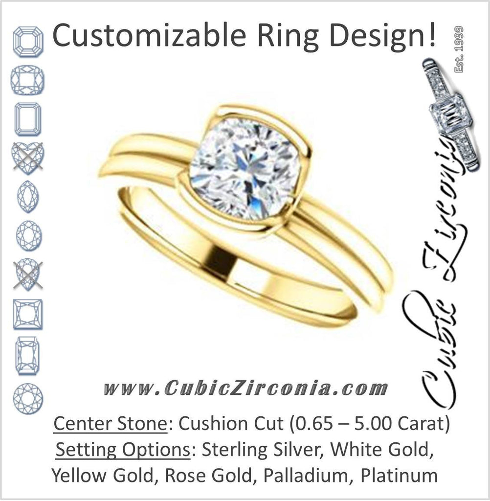 Cubic Zirconia Engagement Ring- The Monse (Customizable Bezel-set Cushion Cut Solitaire with Grooved Band & Euro Shank)