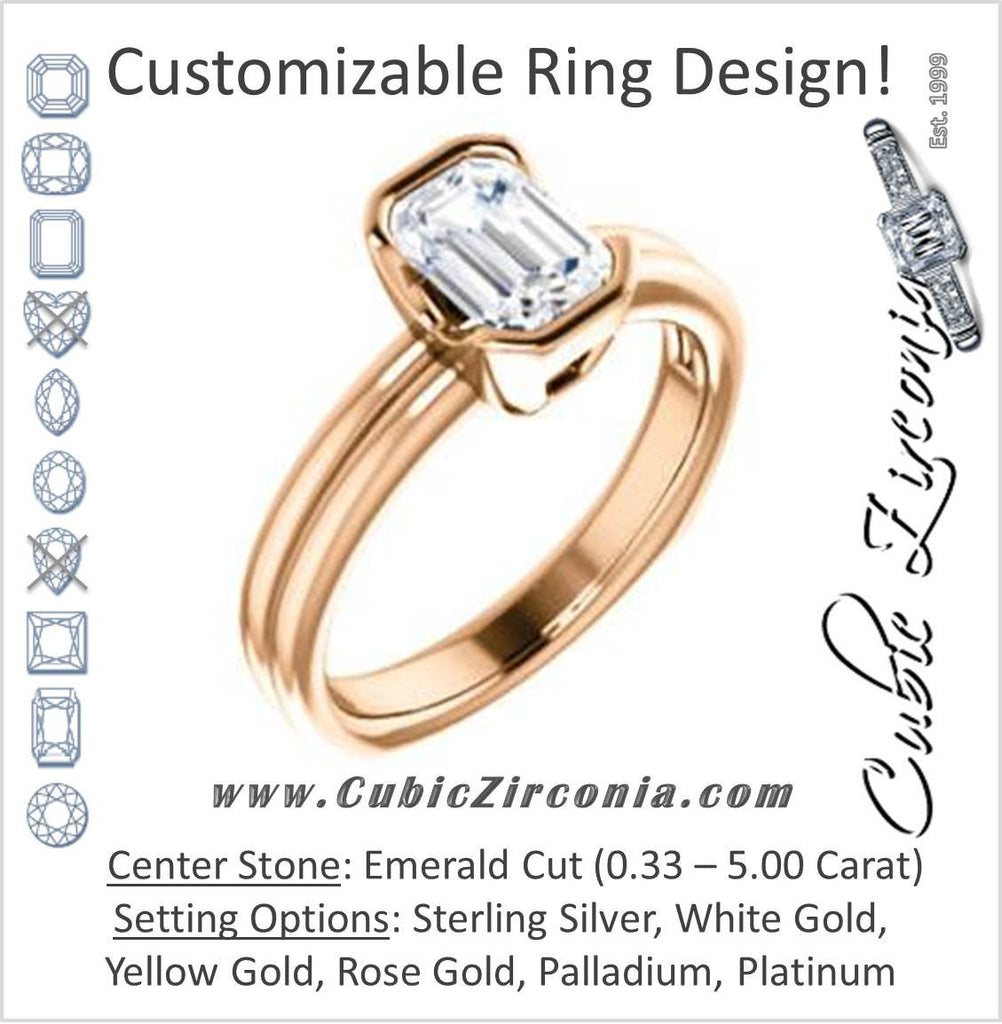 Cubic Zirconia Engagement Ring- The Monse (Customizable Bezel-set Emerald Cut Solitaire with Grooved Band & Euro Shank)