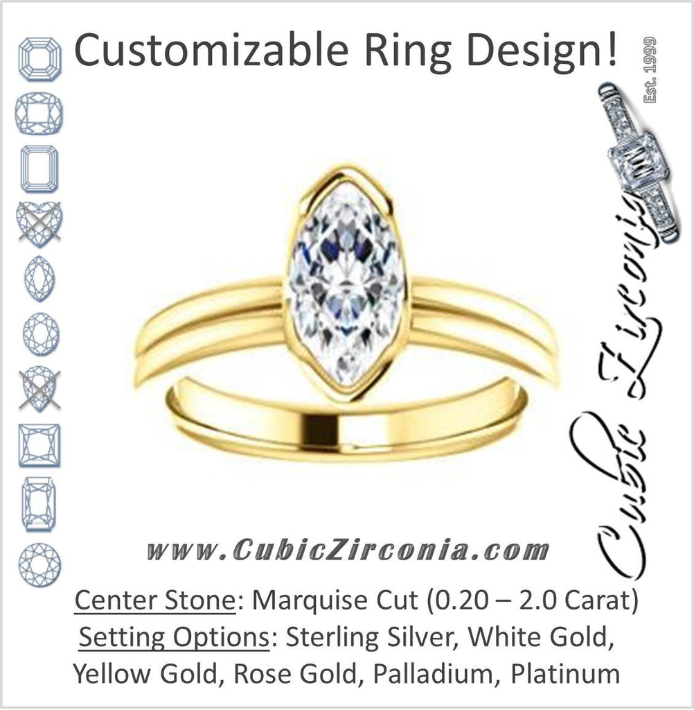 Cubic Zirconia Engagement Ring- The Monse (Customizable Bezel-set Marquise Cut Solitaire with Grooved Band & Euro Shank)