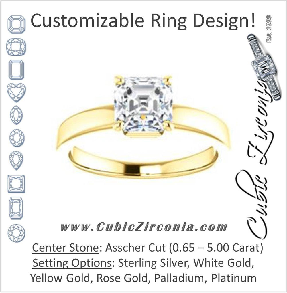 Cubic Zirconia Engagement Ring- The Myaka (Customizable Asscher Cut Solitaire with Medium Band)