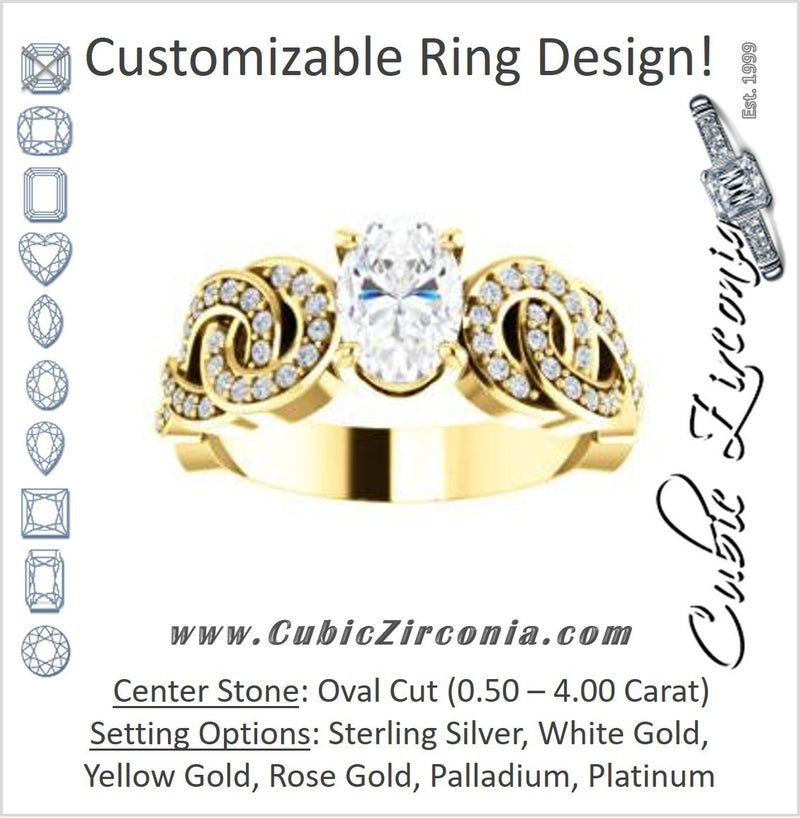Cubic Zirconia Engagement Ring- The Myra (Customizable Oval Cut Split-Band Knots)