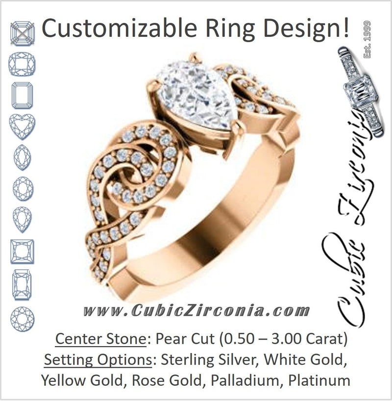 Cubic Zirconia Engagement Ring- The Myra (Customizable Pear Cut Split-Band Knots)