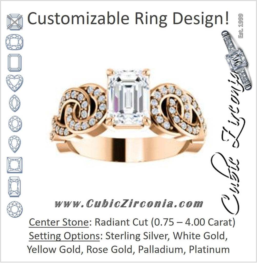 Cubic Zirconia Engagement Ring- The Myra (Customizable Radiant Cut Split-Band Knots)