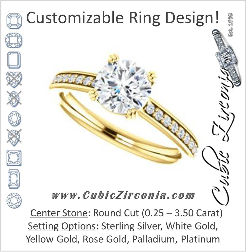 Cubic Zirconia Engagement Ring- The Myrtle (Customizable Round Cut Design with Round-Accented Band & Euro Shank)