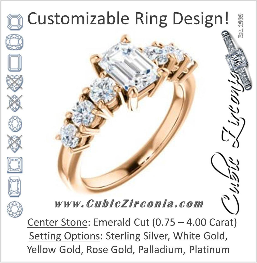 Cubic Zirconia Engagement Ring- The Mysti (Customizable Emerald Cut Seven-stone Design with Round Prong Accents)