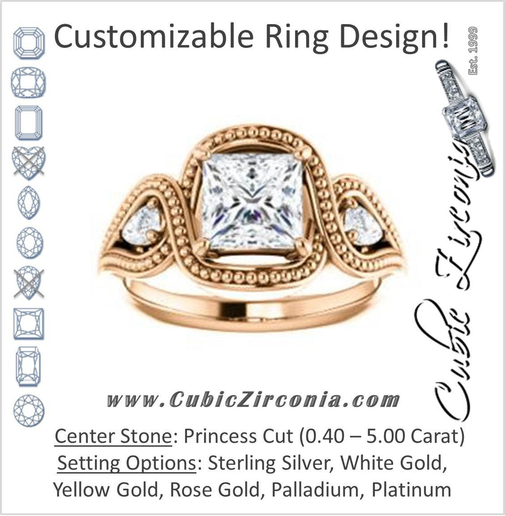 Cubic Zirconia Engagement Ring- The Nainika (Customizable 3-stone Princess Cut Design with Pear Accents and Filigreed Split Band)
