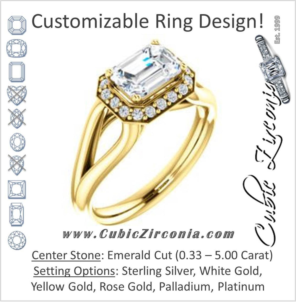 Cubic Zirconia Engagement Ring- The Nancy Avila (Customizable Halo-Accented Emerald Cut Design with Wide Split-Band)