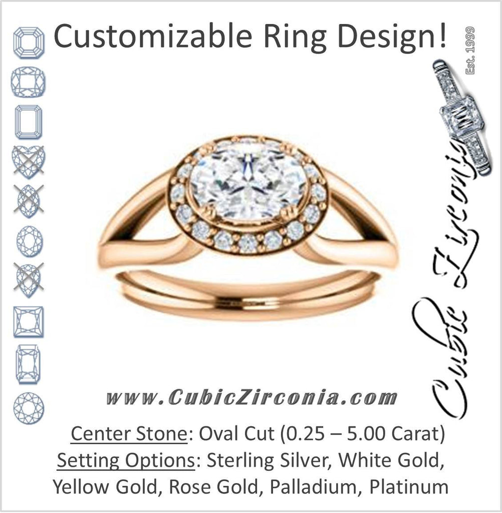 Cubic Zirconia Engagement Ring- The Nancy Avila (Customizable Halo-Accented Oval Cut Design with Wide Split-Band)