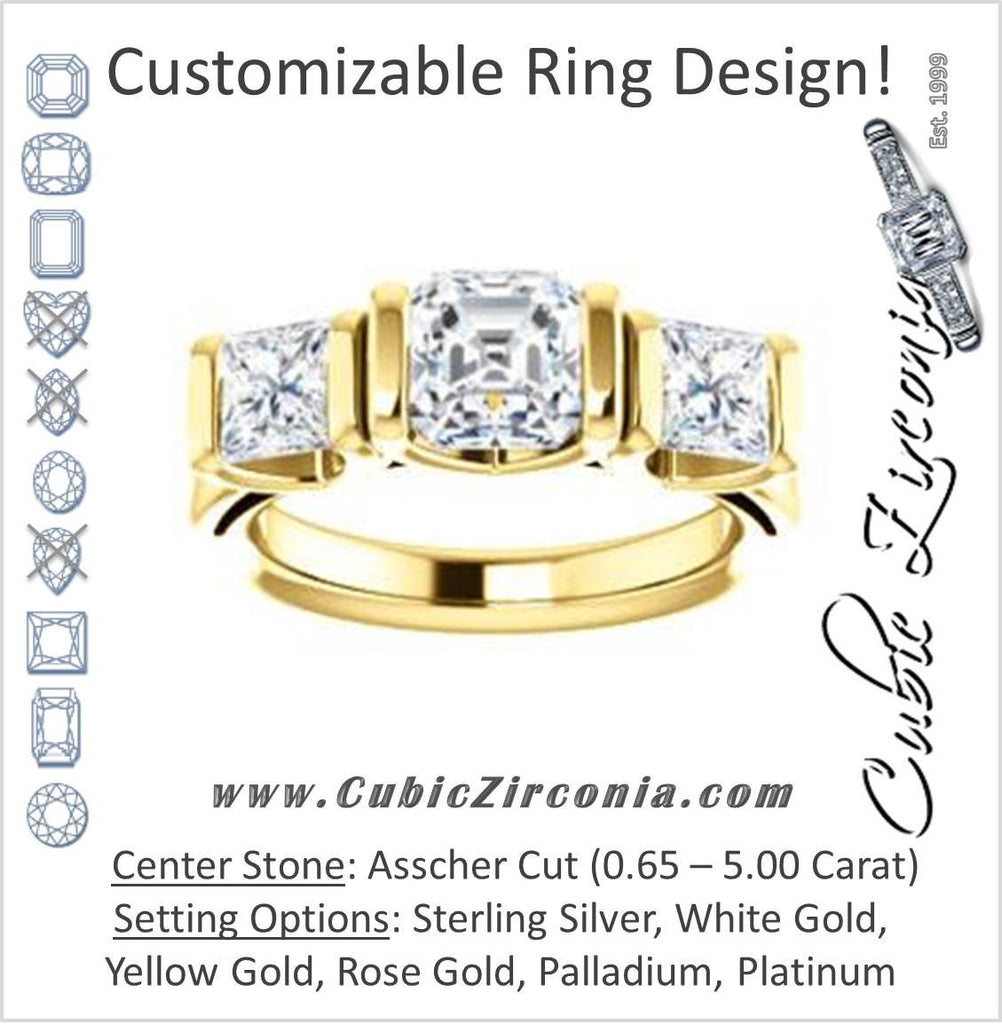 Cubic Zirconia Engagement Ring- The Nazareth (Customizable 3-stone Bar-set Asscher Cut Design with Princess Accents)
