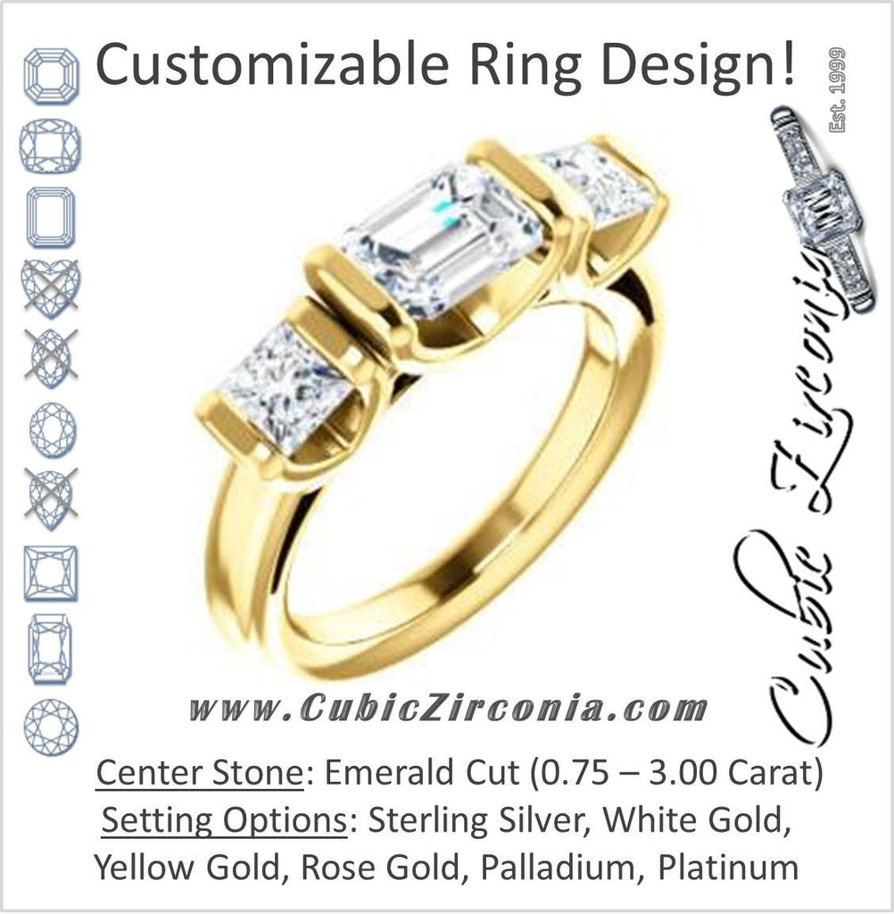 Cubic Zirconia Engagement Ring- The Nazareth (Customizable 3-stone Bar-set Emerald Cut Design with Princess Accents)