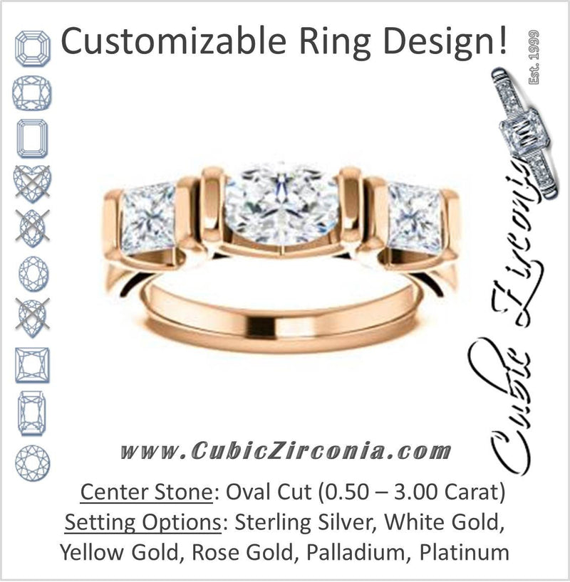 Cubic Zirconia Engagement Ring- The Nazareth (Customizable 3-stone Bar-set Oval Cut Design with Princess Accents)