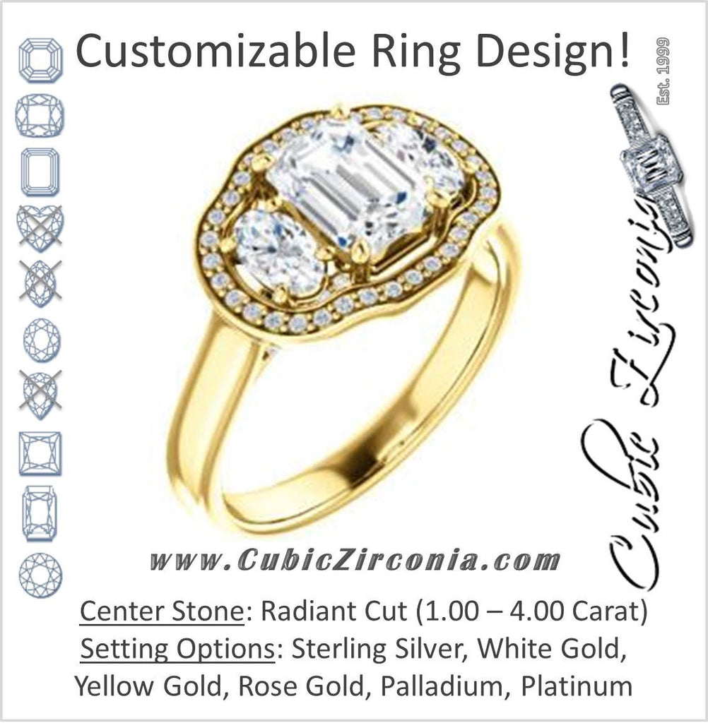 Cubic Zirconia Engagement Ring- The Nettie (Customizable Enhanced 3-stone Halo-Surrounded Design with Radiant Cut Center, Dual Oval Cut Accents, and Decorative Pavé-Accented Trellis)