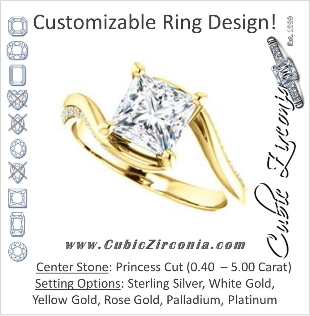 Cubic Zirconia Engagement Ring- The Nicola (Customizable Princess Cut Style with Twisting Bypass Band featuring Inset Pavé Accents)