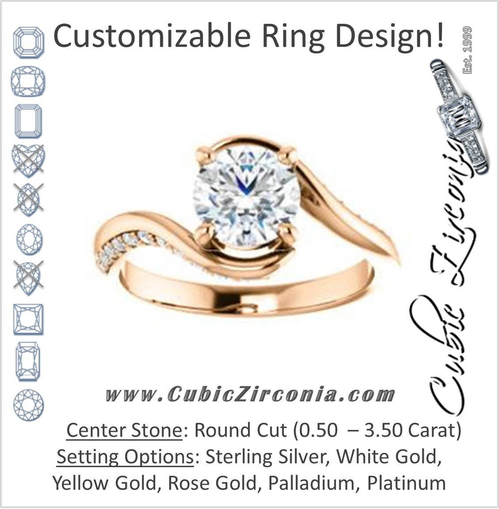 Cubic Zirconia Engagement Ring- The Nicola (Customizable Round Cut Style with Twisting Bypass Band featuring Inset Pavé Accents)