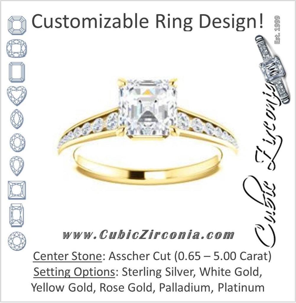 Cubic Zirconia Engagement Ring- The Noa (Customizable Asscher Cut Center featuring Tapered Band with Round Channel Accents)