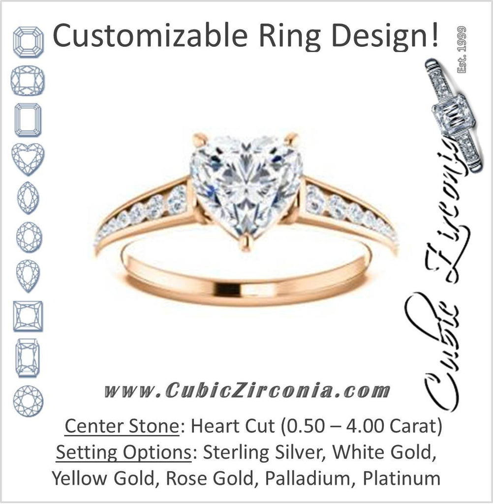 Cubic Zirconia Engagement Ring- The Noa (Customizable Heart Cut Center featuring Tapered Band with Round Channel Accents)