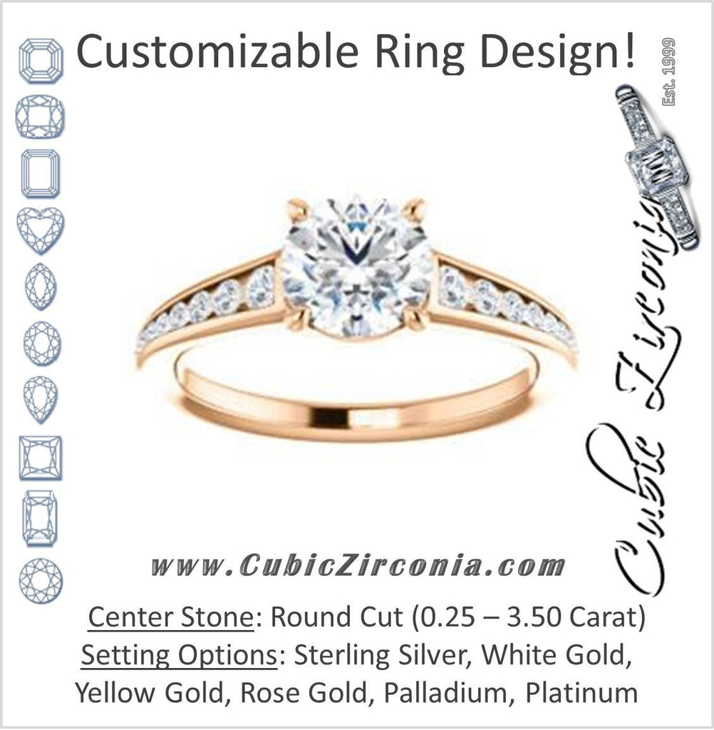 Cubic Zirconia Engagement Ring- The Noa (Customizable Round Cut Center featuring Tapered Band with Round Channel Accents)
