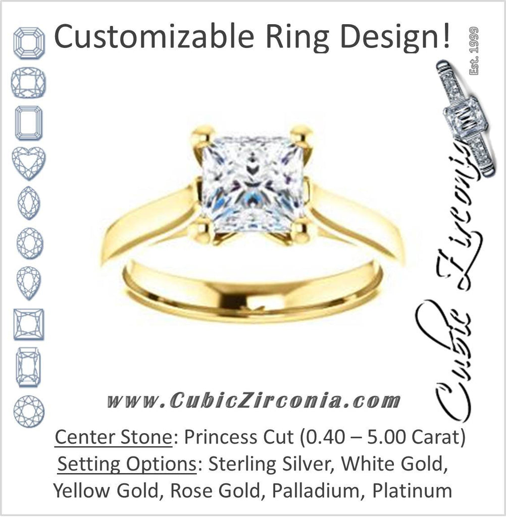 Cubic Zirconia Engagement Ring- The Noemie Jade (Customizable Cathedral-set Princess Cut Solitaire)