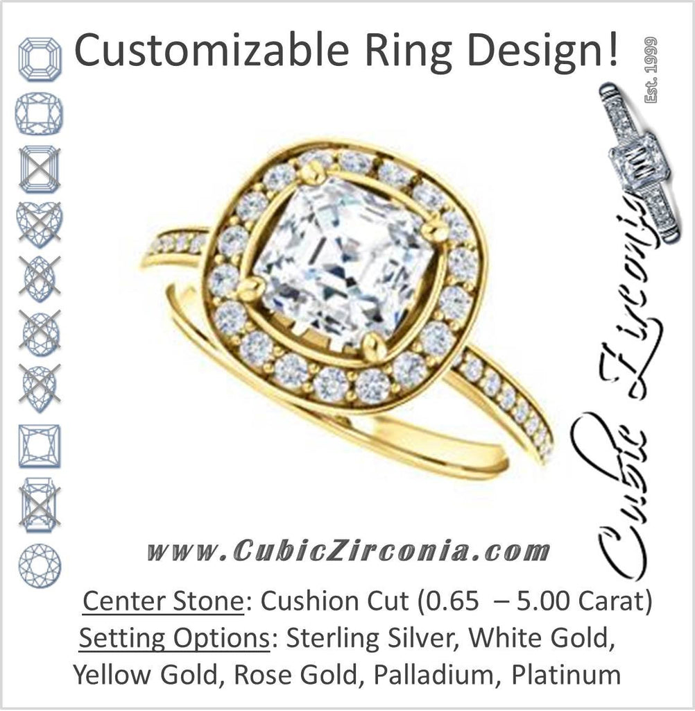 Cubic Zirconia Engagement Ring- The Nynaeve (Customizable Cushion Cut Style with Thin Pavé Band and Halo Accents)