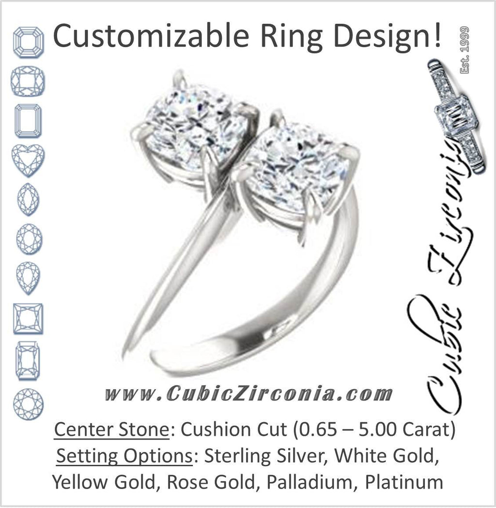 Cubic Zirconia Engagement Ring- The Patti (Customizable Cushion Cut 2-stone Bypass Style)